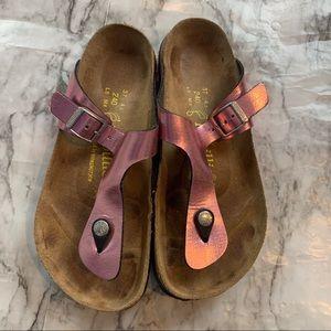 Birkenstock Metallic Rose Gold Pink Thong Sandals